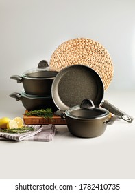 Cookware set with pots and pans.