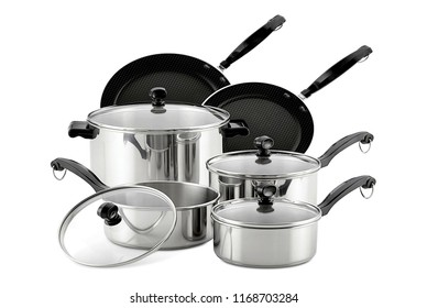 cookware set, steel dinner set isolated on white background, black metal cookware set