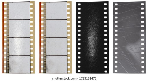cool 35mm filmstrip building set or kit for your content, vintage film snip with empty frames isolated on white background with reflection light and scratch texture layer.