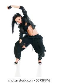 Cool active female hip-hop dancer on white background
