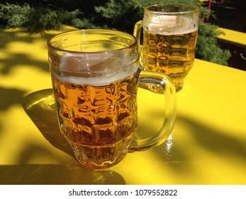 Cool beers in the April sunshine in Berlin's Prater Garten