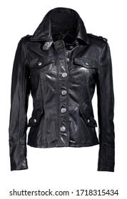 cool black female leather jacket