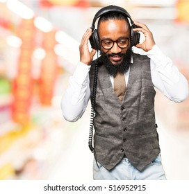 cool black man with headphones