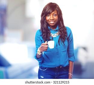 cool black woman drinking coffee