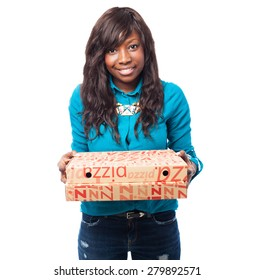 cool black woman holding a pizza boxes