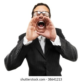 Cool businessman shouting on isolated white