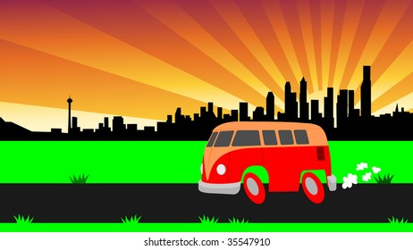 cool cartoon van and chicago skyline