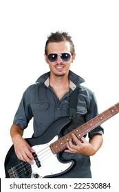 Cool caucasian bass guitar player wearing sun glasses
