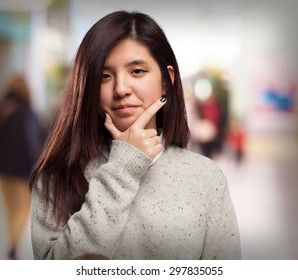 cool chinese-woman thinking