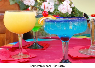 Cool, colorful summer drinks; Old Town; San Diego, California