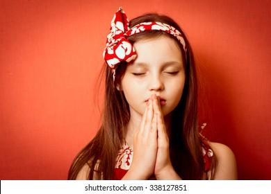 cool cute little girl praying