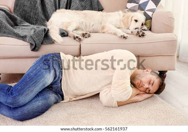 Cool dog and young man sleeping at home