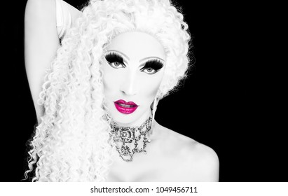 cool drag queen with spectacular makeup, glamorous stylish look, posing with   proud and  style for lgtb equality gay rights
