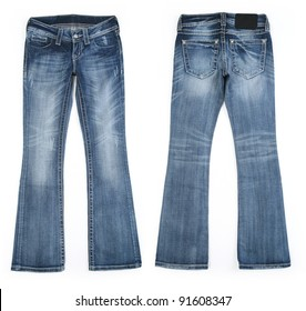 Cool Edgy Women's Vintage Worn Jean Style - Front and Back View