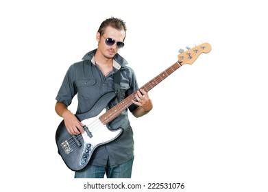 Cool european bass guitar player wearing sun glasses