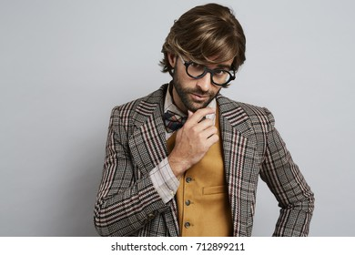 Cool geek guy in glasses, portrait