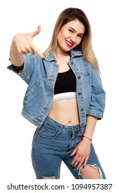 Cool girl on a white background