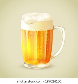 Cool glass mug of cold golden beer with foam emblem  illustration