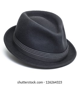 Cool grey, felt trilby/fedora hat isolated on a white background.