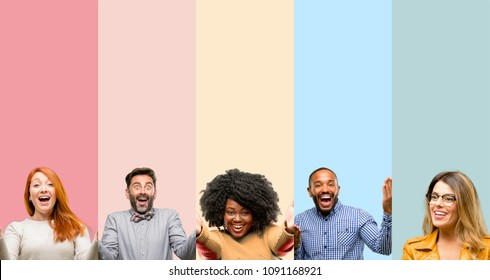 Cool group of people, woman and man confident and happy with a big natural smile welcome gesture