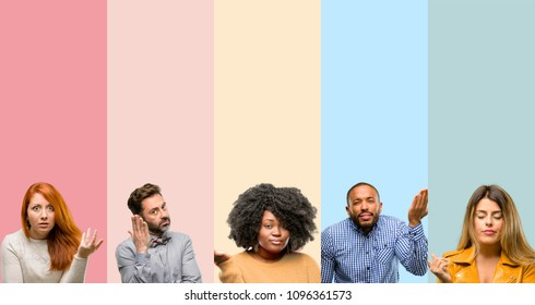 Cool group of people, woman and man irritated and angry expressing negative emotion, annoyed with someone