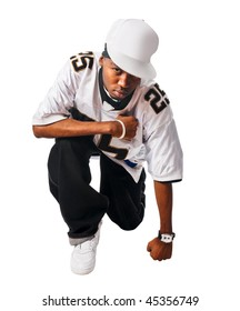 Cool hip-hop young man isolated on white