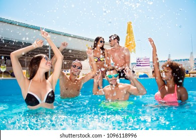 Cool lifestyle rich tourism travel event trip journey entertainment delight bonding concept. Crazy careless excited joyful sporty sexy with toothy smile friends move in pool. Love couple background