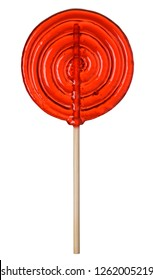 Cool lollipop candy big red transparent isolated on white background