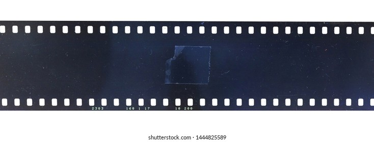 cool looking but blank and empty film movie filmstrip on white background