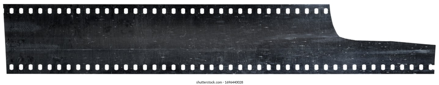 cool looking but blank and empty film movie filmstrip on white background. 35mm film material with dust and scratches, poster design element.