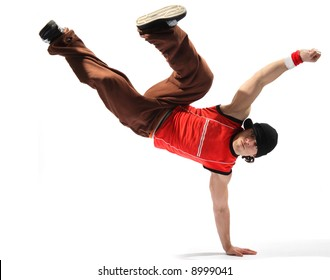 cool looking breakdancer posing on a isolated background