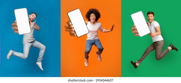 Cool mobile offer. Excited jumping guys demonstrating smartphones with white screens on colorful backgrounds, collage with mockup copy space for your app or website design