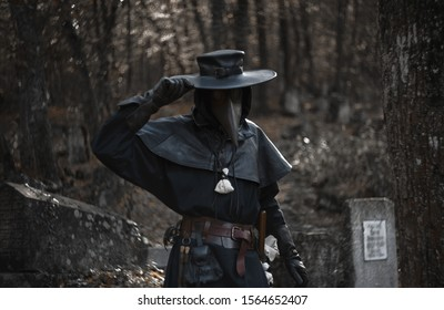 cool plague doctor at the cemetery