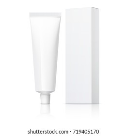 Cool Realistic white tube and packaging. For cosmetics, ointments, cream, tooth paste, glue. Separate elements. 3D illustration