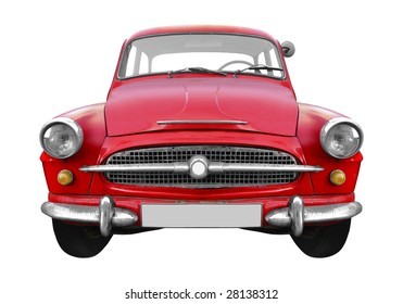 cool red Czechoslovakian vintage car isolated on white background