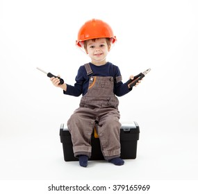 Cool repairman in hardhat with pliers and screwdriver on white