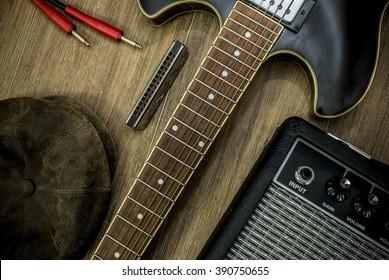 cool retro style guitarist gear flat lay