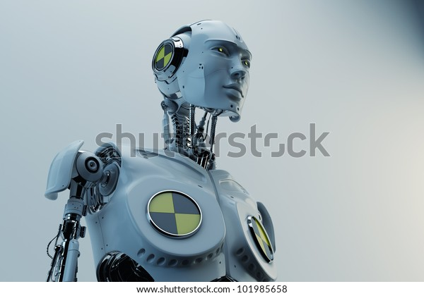 Cool robot man with yellow-black sign / Stylish cyborg with danger sign