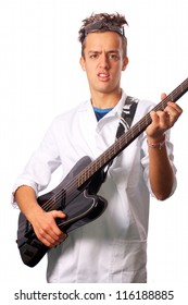 Cool scientist with a bass guitar
