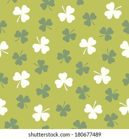 Cool Seamless Background With Shamrock Pattern In Green And White For St Patricks Day Textiles