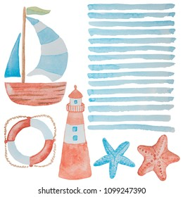 Cool set of marine elements painted in red and blue watercolor