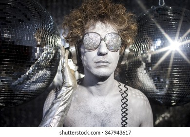 a cool silver club character listening to music in a disco setting