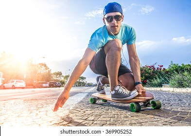 Cool skater doing a stunt on his skateboard