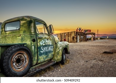 COOL SPRINGS, ARIZONA, USA - MAY 19, 2016: Car wreck and rebuilt Cool Springs station in the Mojave desert on historic route 66 .