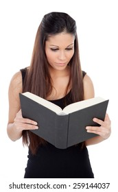 Cool student girl reading a book isolated on a white background