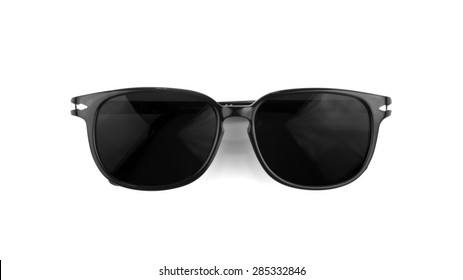 01e3ff771388 Cool sunglasses with black plastic frame isolated on white background