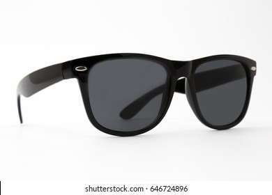 Cool sunglasses with black plastic frame isolated on white background
