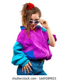 Cool teenager. Fashionable DJ girl in colorful trendy jacket and vintage retro sunglasses enjoys style of 80s-90s vibes. Teenager Girl at disco party. Young fashion model isolated on white background.