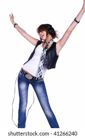 cool teenager listening to music and dancing