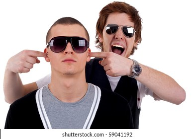 Cool two friends guys fooling around with eachother